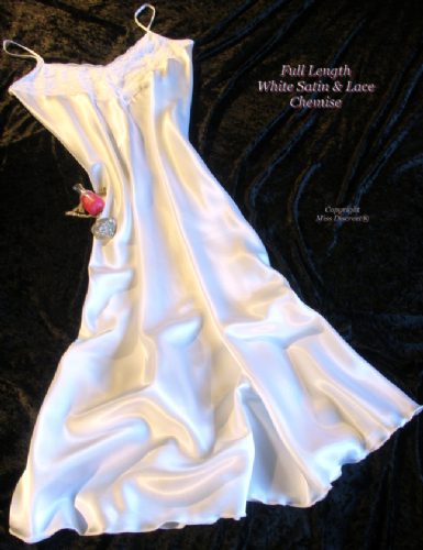 Long Glossy Satin and Lace Nightie in Snow White - Nightdress Chemise Slip - Size UK 10 to 28